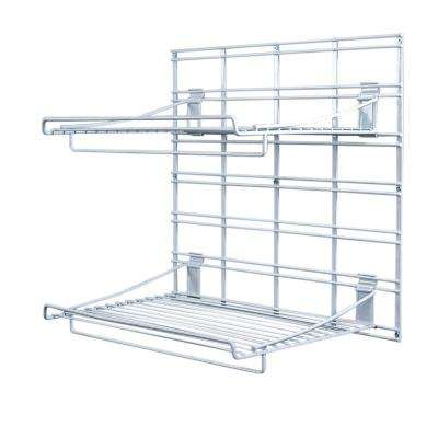 21 in. x 19 in. White Steel Grid 2-Shelves Bracket System for Wire Shelving