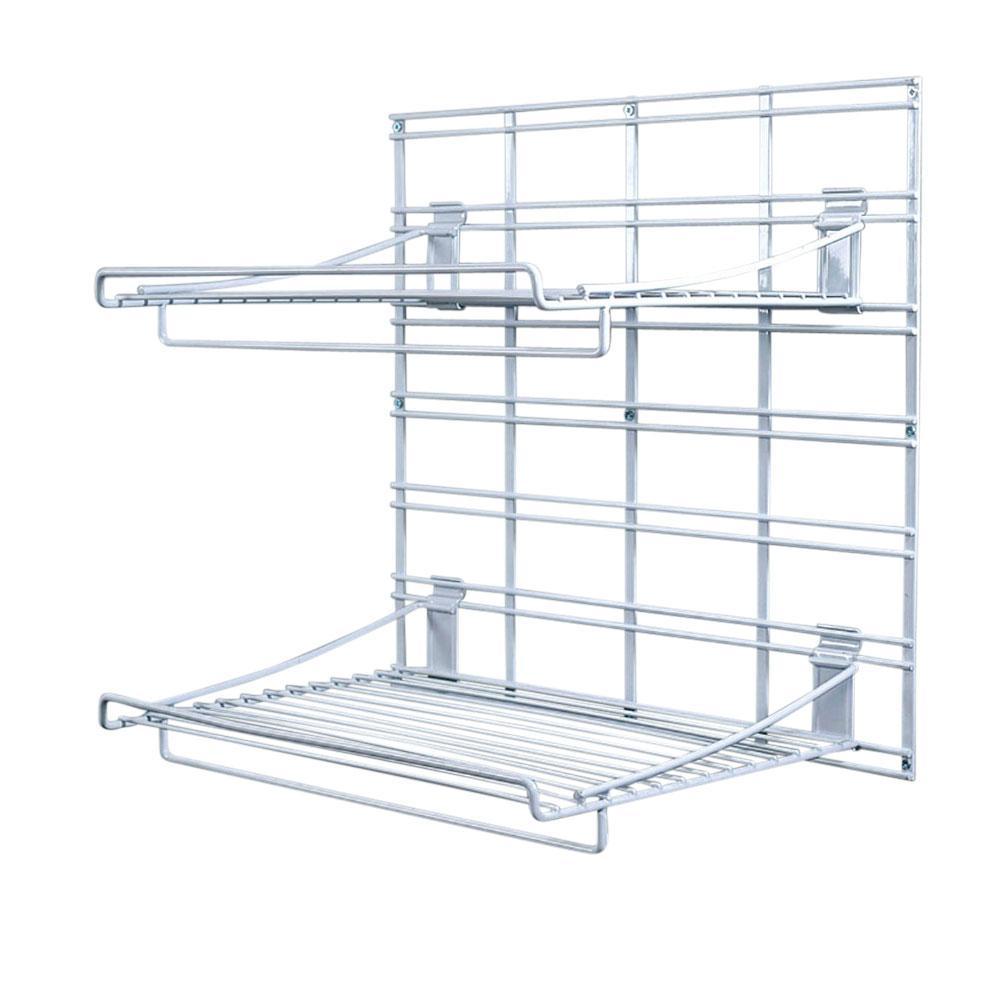 WallTech 21 in. x 19 in. White Steel Grid 2-Shelves Bracket System for Wire Shelving