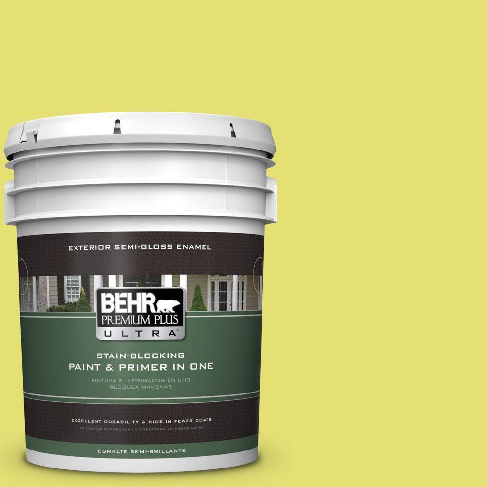 BEHR Premium Plus Ultra 5-gal. #400B-4 Citron Semi-Gloss Enamel Exterior Paint