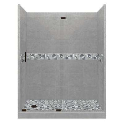 Newport Grand Slider 34 in. x 60 in. x 80 in. Left Drain Alcove Shower Kit in Wet Cement and Black Pipe Hardware