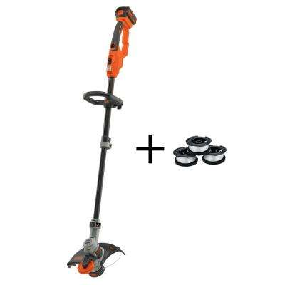 12 in. 20-Volt MAX Lithium-Ion Electric Cordless 2-in-1 String Grass Trimmer/Lawn Edger with Bonus Line Spool 3-Pack
