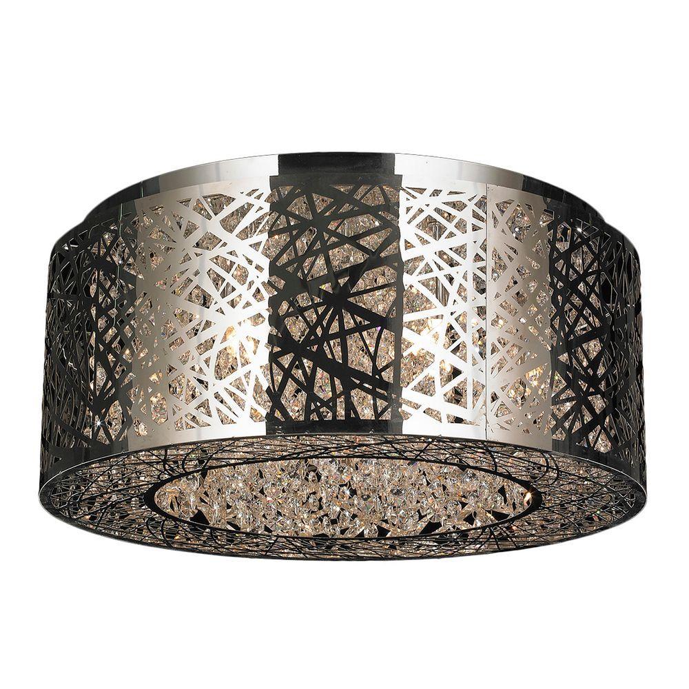 Worldwide Lighting Aramis Collection 9 Light Chrome Crystal Flush Mount