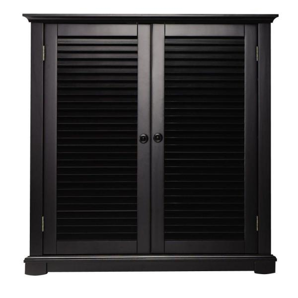 Home Decorators Collection Shutter Worn Black Shoe Storage with 2 Doors (35 in. W)