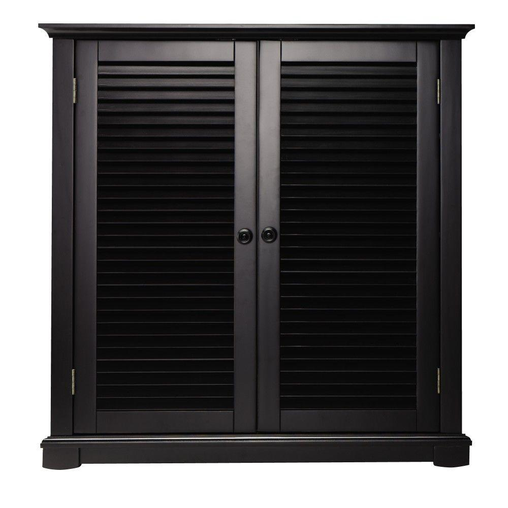Home Decorators Collection Shutter 35 in. W Worn Black 2-Door Shoe Storage