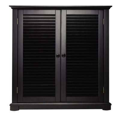 Shutter 35 in. W Worn Black 2-Door Shoe Storage