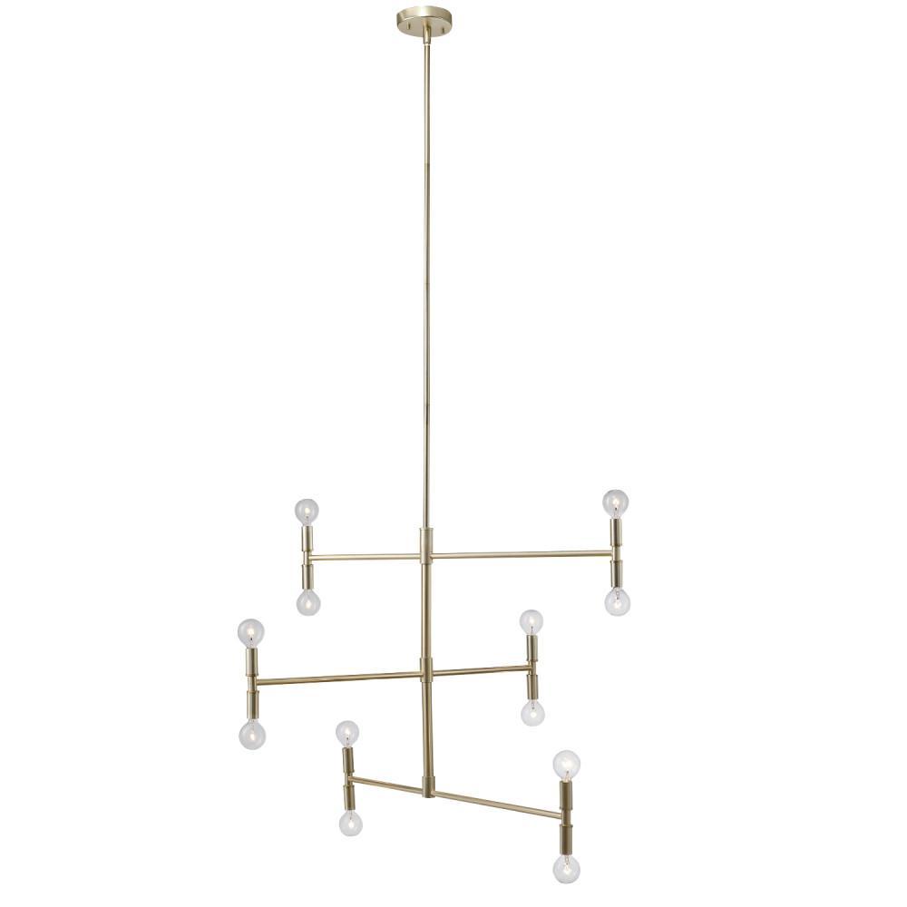 Globe Electric Aldred 12-Light Matte Brass Branch Chandelier, Bulbs Included