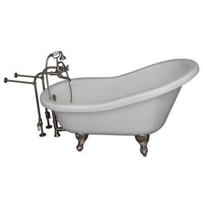 5 ft. Acrylic Ball and Claw Feet Slipper Tub in White with Brushed Nickel Accessories
