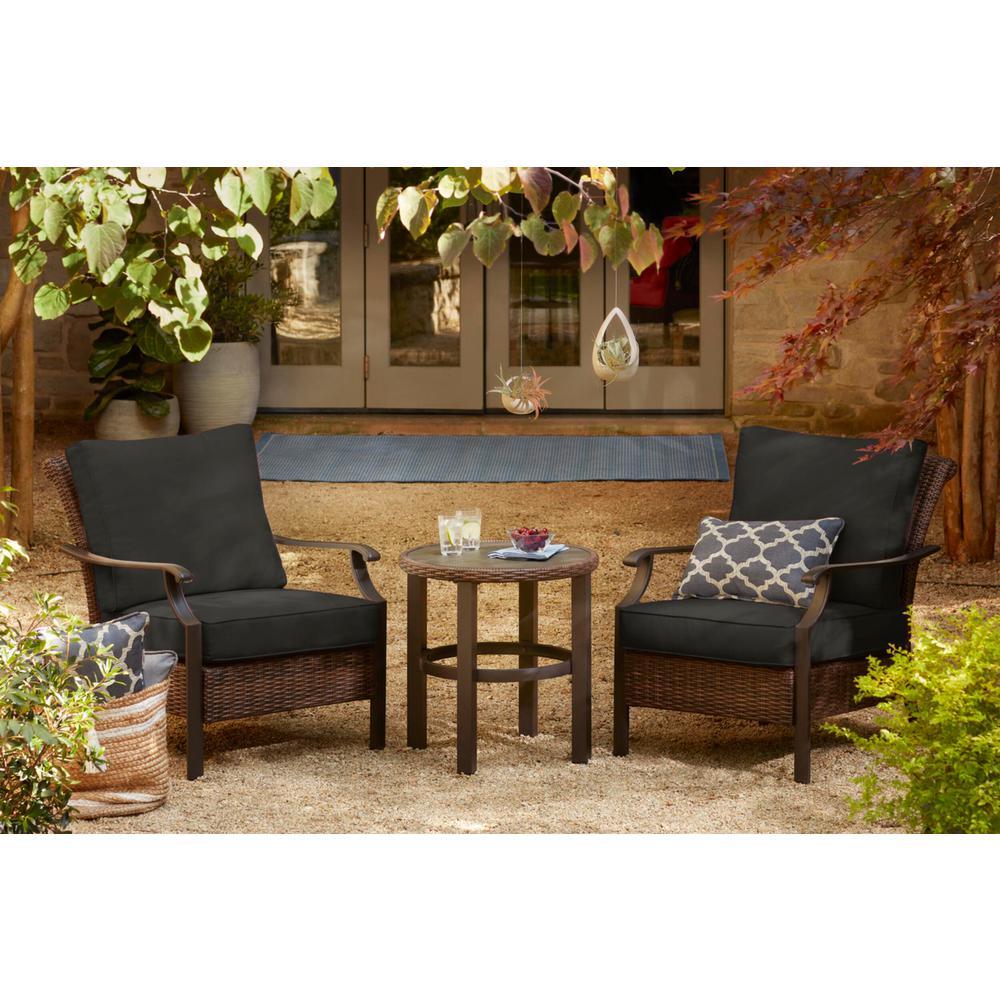 Harper Creek 3-Piece Brown Steel Outdoor Patio Chair Set with CushionGuard Graphite Dark Gray Cushions