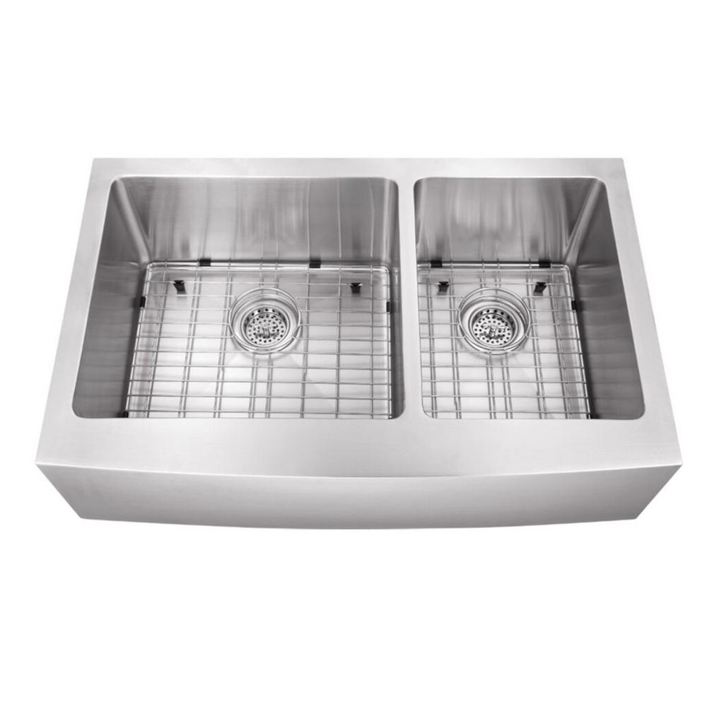 Farmhouse Large Apron Front Stainless Steel 32-7/8 in. 60/40 Double Bowl
