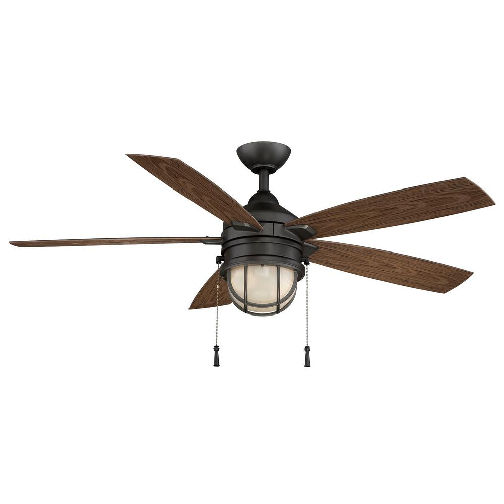 Hampton Bay Seaport 52 In Led Indoor Outdoor Natural Iron