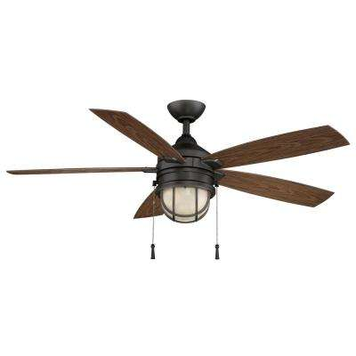 Seaport 52 In LED Indoor Outdoor Natural Iron Ceiling Fan With Light Kit