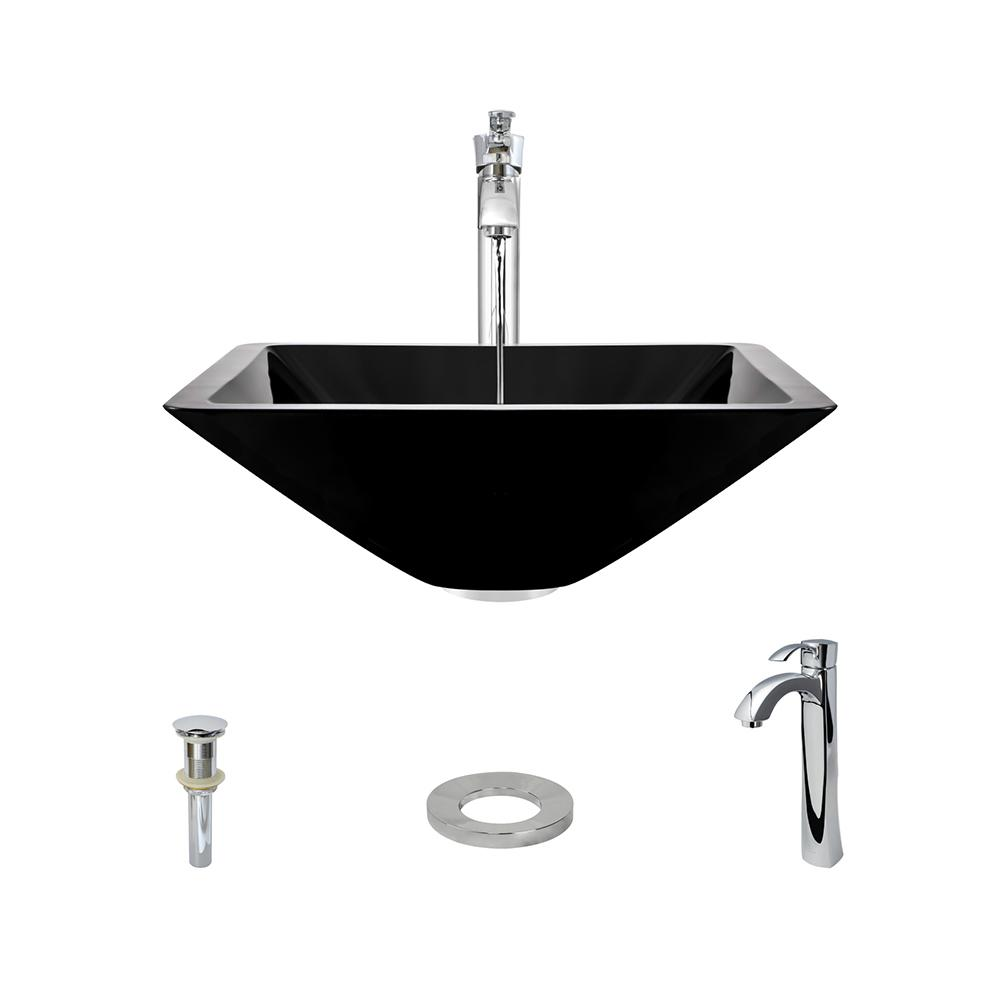 MR Direct Glass Vessel Sink in Black with 726 Faucet and Pop-Up ...