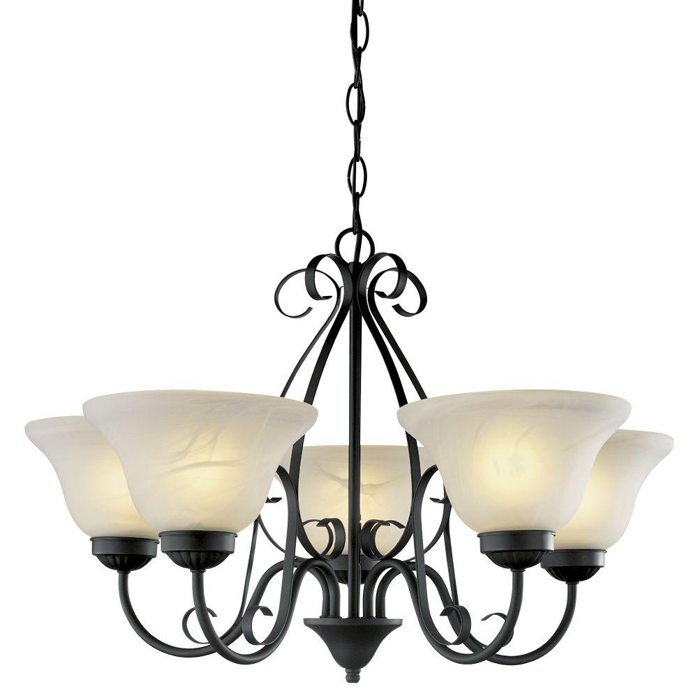 Hampton Bay 5-Light Matte Black Chandelier