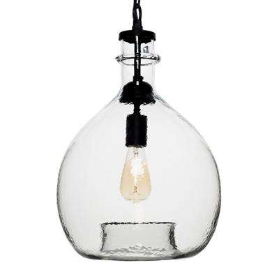 21 in. H and 13 in. W 1-Light Black Wavy Hammered Hand Blown Glass Pendant with Clear Glass Shade