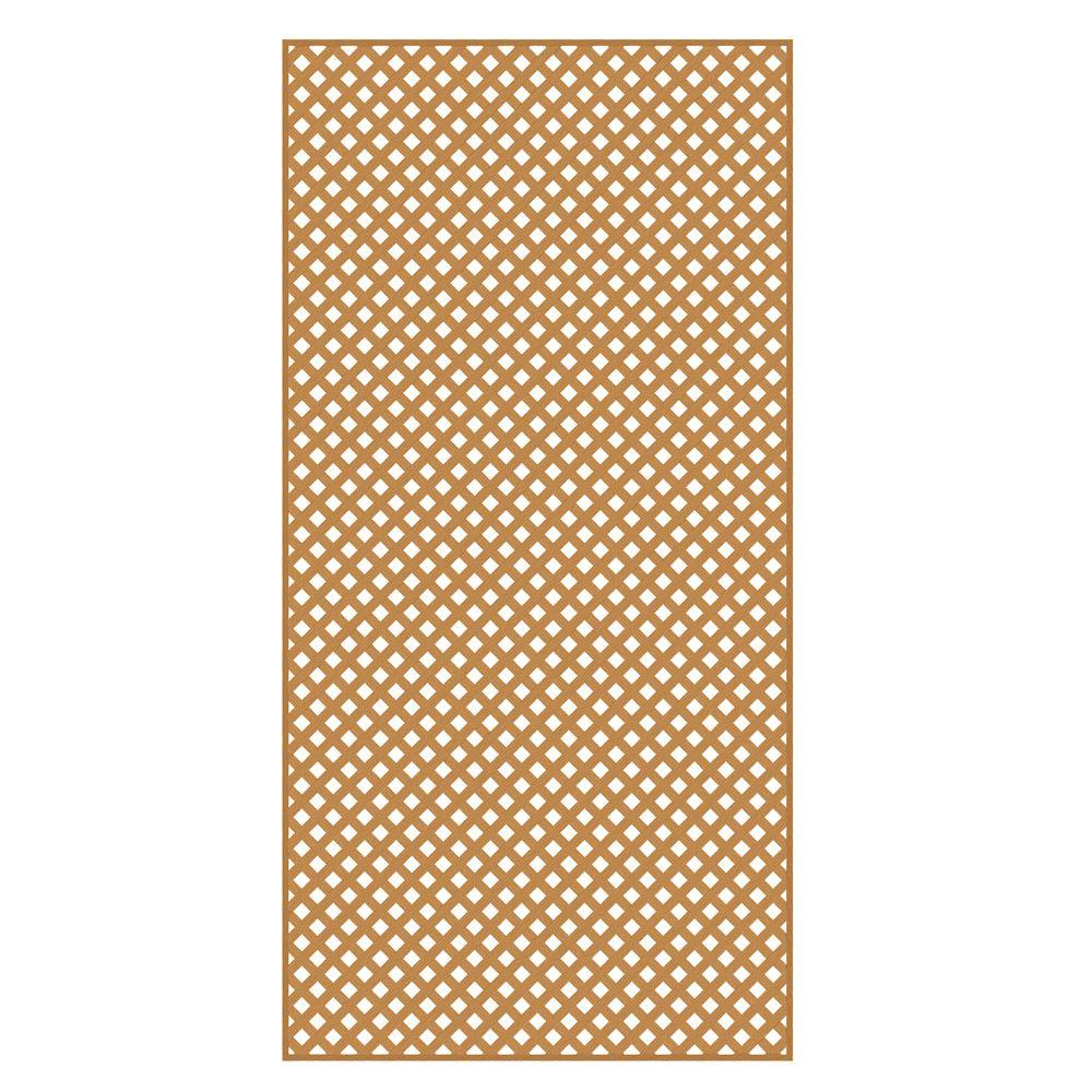 Veranda 4 ft. x 8 ft. Sierra Cedar Privacy Diamond Vinyl Lattice - Framed