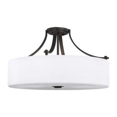 Sunset Drive 22 in. 4-Light Oil Rubbed Bronze Semi-Flush Mount
