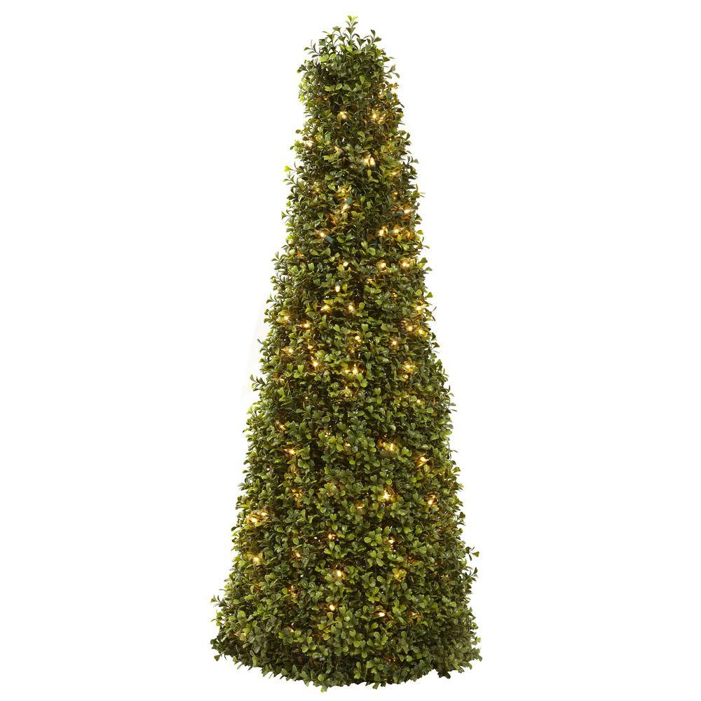 Nearly Natural 39 in. Boxwood Cone with Lights, Greens