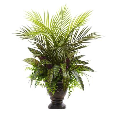 27 in. Mixed Areca Palm, Fern and Peacock with Planter