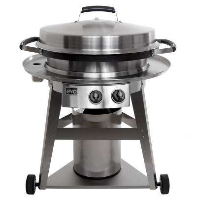 Professional Wheeled Cart 2-Burner Propane Gas Grill in Stainless Steel with Flattop