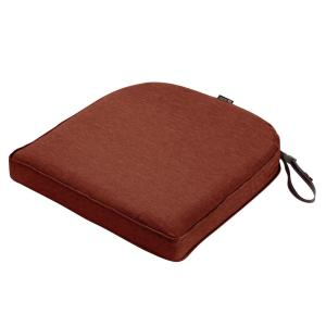 Montlake Heather Henna Red 20 in. W x 20 in. D x 2 in. Thick Rounded Back Square Outdoor Seat Cushion
