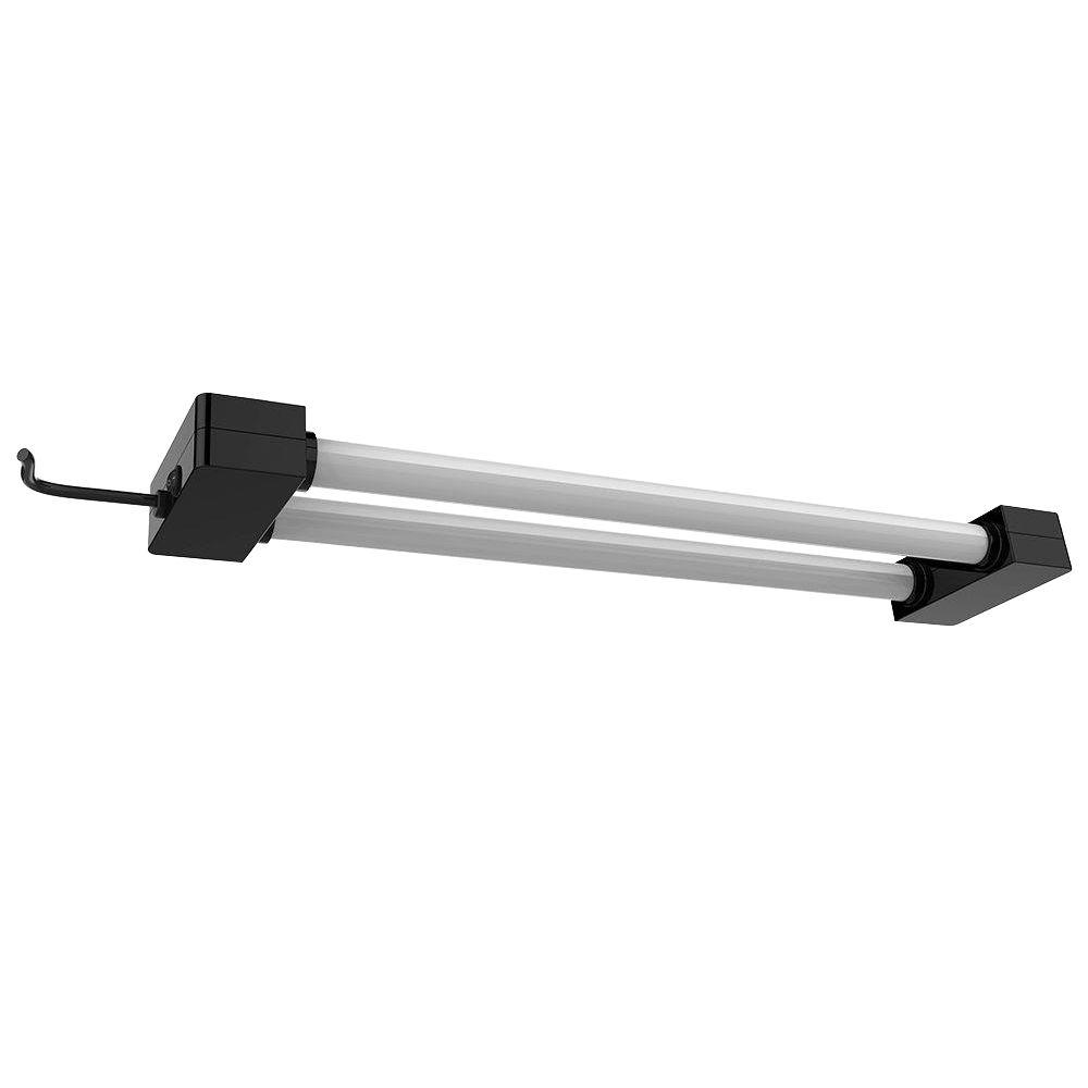 2 ft. 2-Light 19-Watt Black Integrated LED Utility Shop Light Fixture