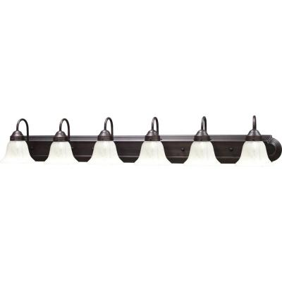 Marti 6-Light Indoor Antique Bronze Bath or Vanity Wall Mount with Alabaster Glass Bell Shades