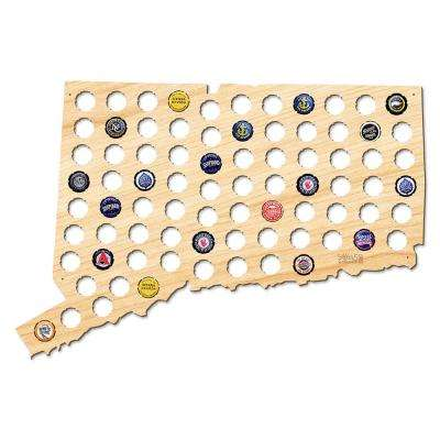 23 in. x 16 in. Large Connecticut Beer Cap Map