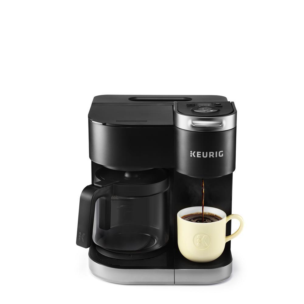K Duo Matte Black Single Serve and Carafe Coffee Maker