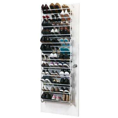 24 in. x 7.5 in. x 71 in. Adjustable 36 Pair White Over The Door Shoe Rack