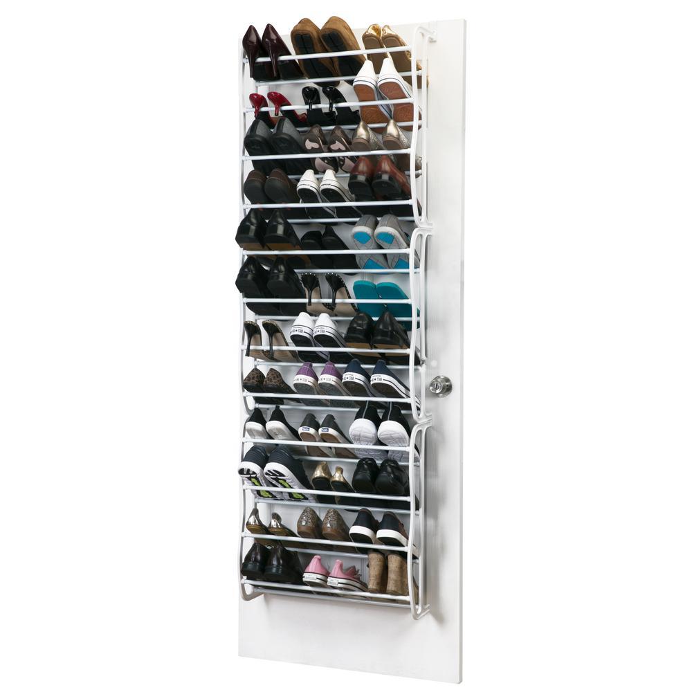 24 in. x 7.5 in. x 71 in. Adjustable 36 Pair White Over The Door Shoe Rack