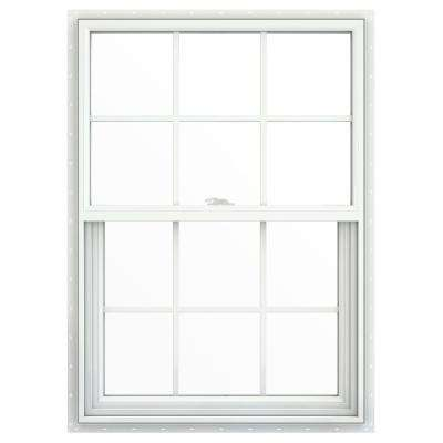 29.5 in. x 35.5 in. V-2500 Series White Vinyl Single Hung Window with Colonial Grids/Grilles