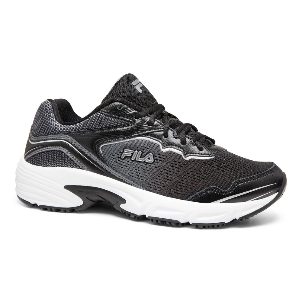 Fila Women's Memory Runtronic Slip Resistant Athletic Shoes Soft Toe BlackPewter Size 8.5(M)
