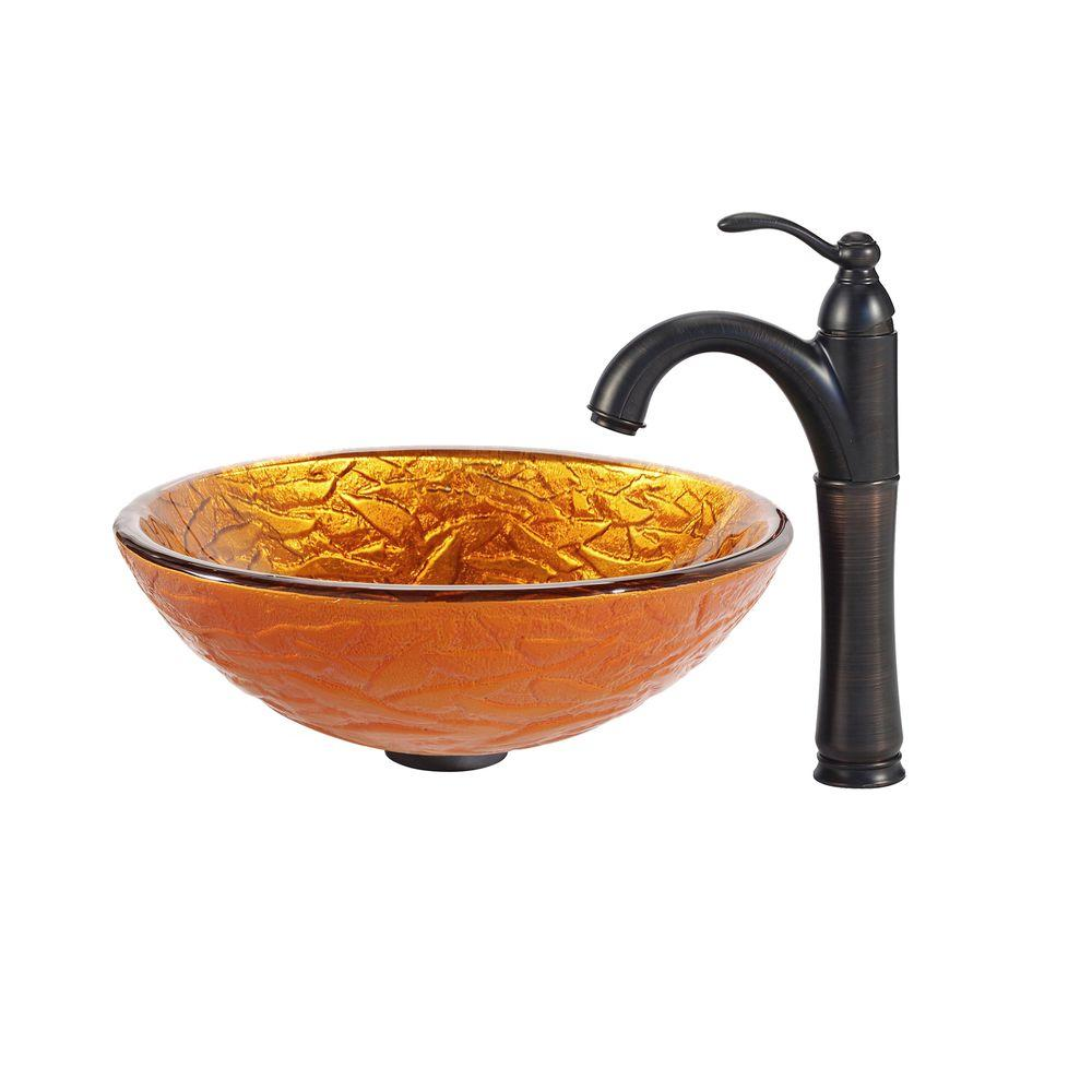 KRAUS Blaze Glass Vessel Sink in Gold with Riviera Faucet in Oil Rubbed Bronze