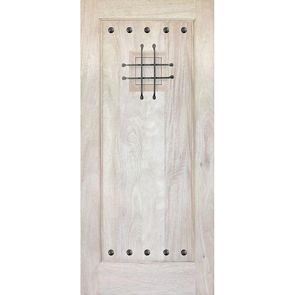 Main Door 36 in. x 80 in. Rustic Mahogany Type Unfinished Solid Wood Speakeasy Front Door Slab