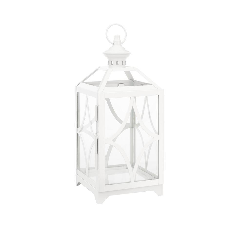 hamptonbay Hampton Bay 14 in. Metal and Glass Outdoor Patio Lantern with Metal Top