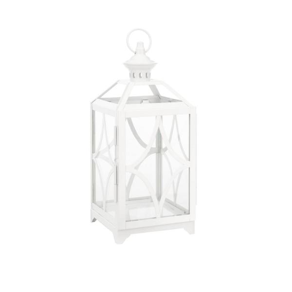 14 in. Metal and Glass Outdoor Patio Lantern with Metal Top