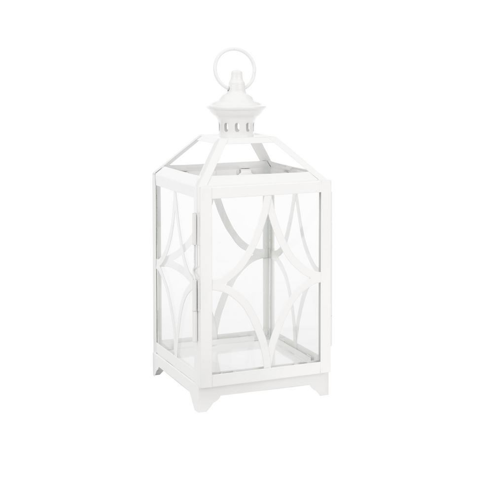 Hampton Bay 14 in. Metal and Glass Lantern in White