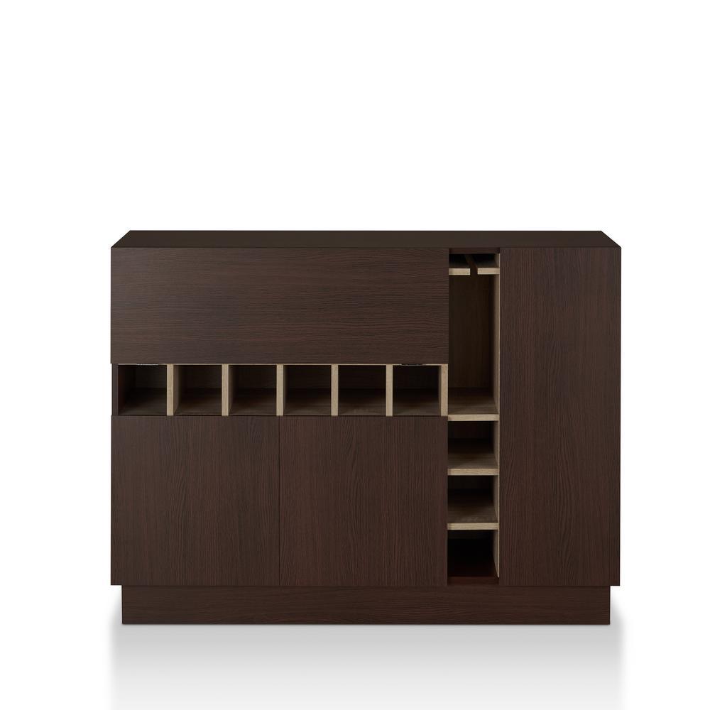 Rodney 9-Bottle Dual-tone Espresso Wine Cabinet