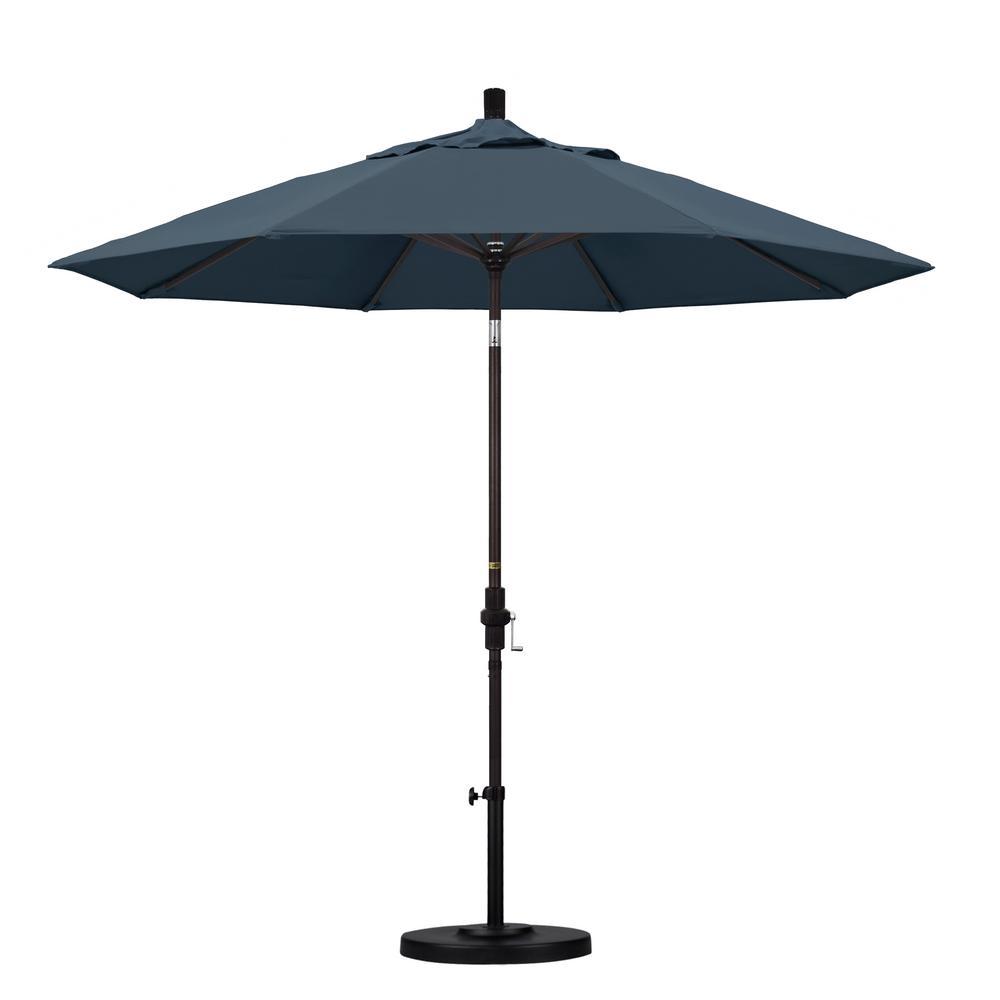 California Umbrella 9 ft. Aluminum Collar Tilt Patio Umbrella in Sapphire Pacifica