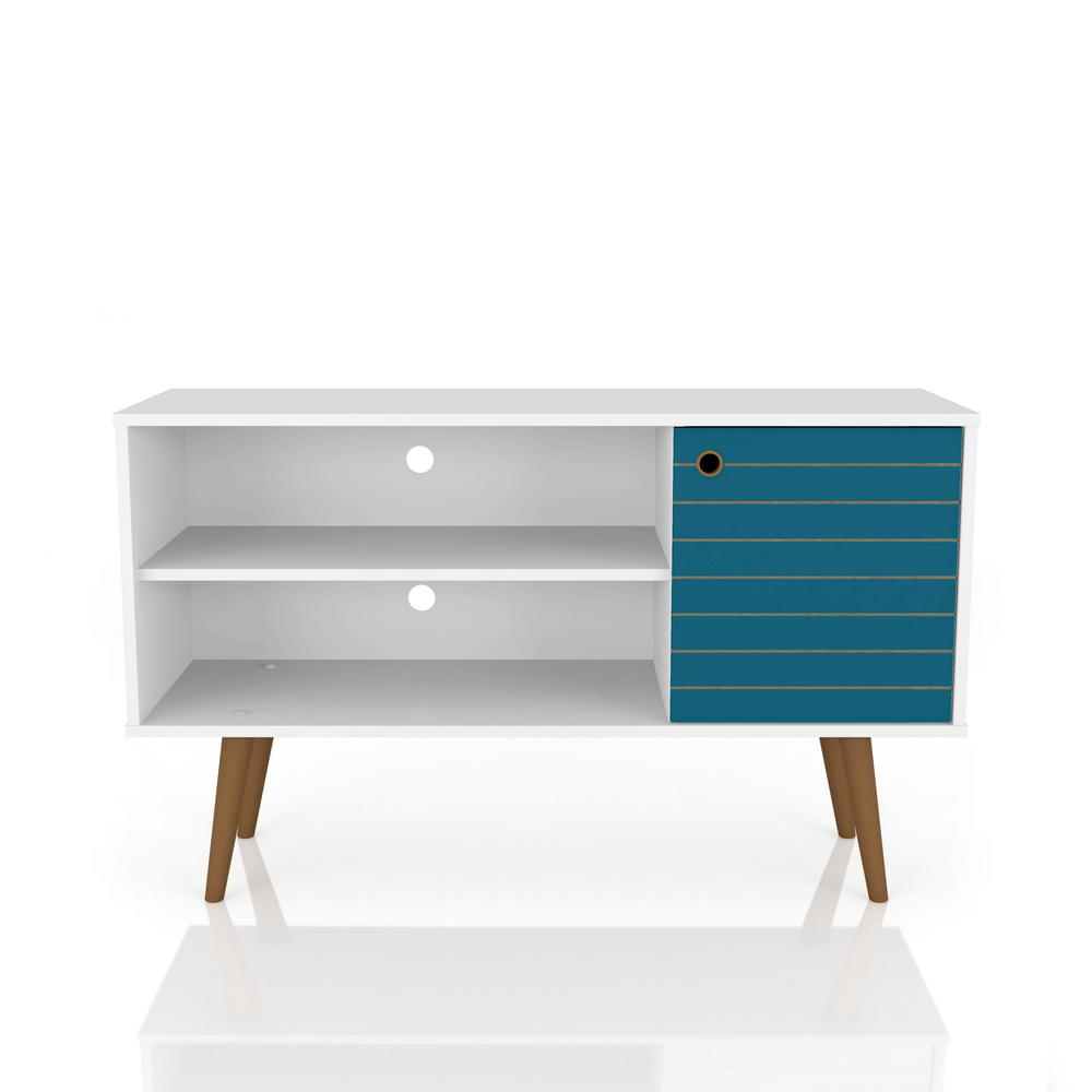 Liberty 42.52 in. White and Aqua Blue 2-Shelf TV Stand