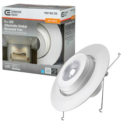 6 in. 3000K Integrated LED Recessed Trim Gimbal Light with Adjustable Beam Angle and Bulb Direction 670 Lumens Dimmable