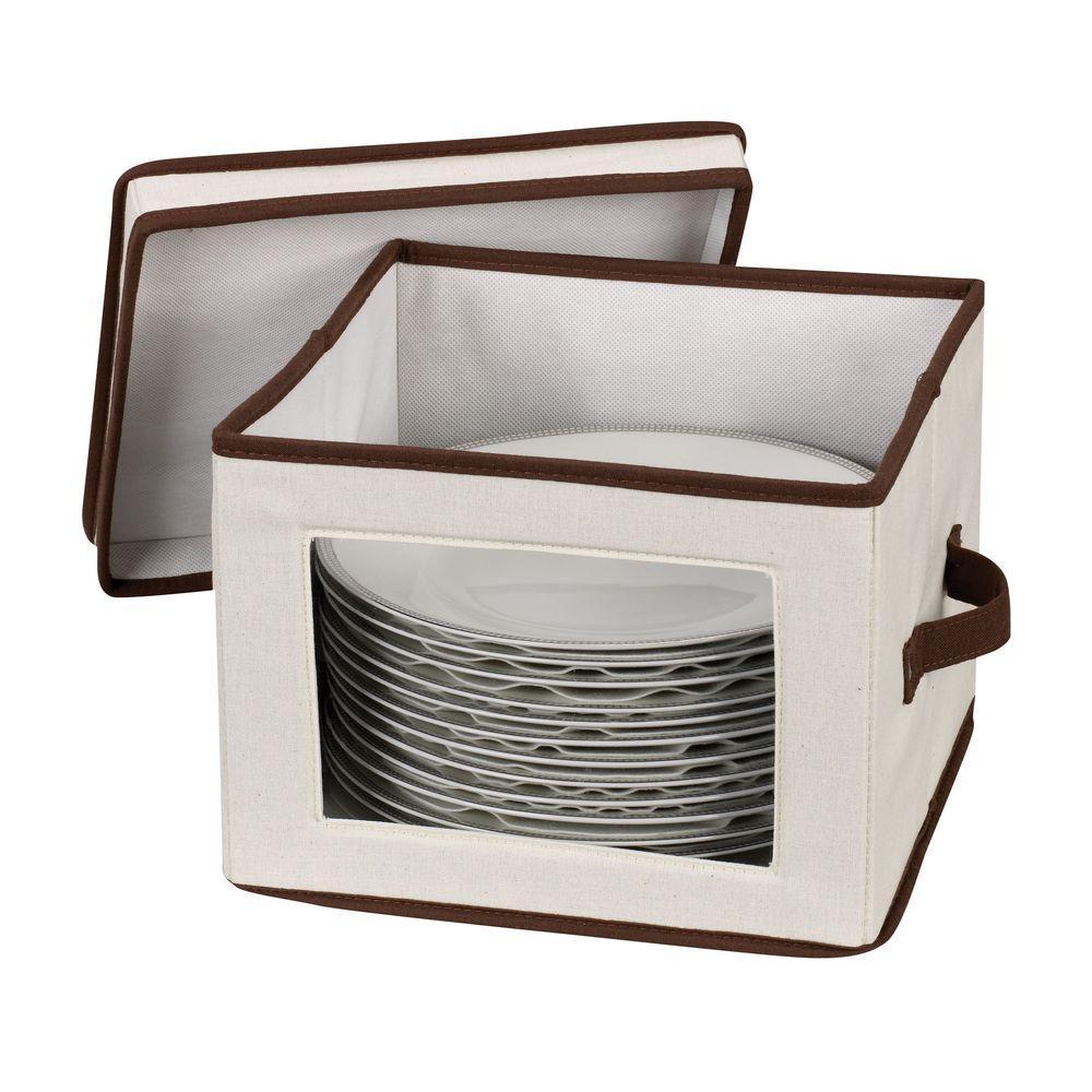 Household Essentials Dinner Plate Storage Chest Canvas with Trim