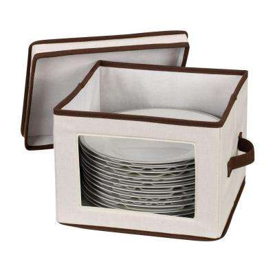 Dinner Plate Storage Chest Canvas with Trim