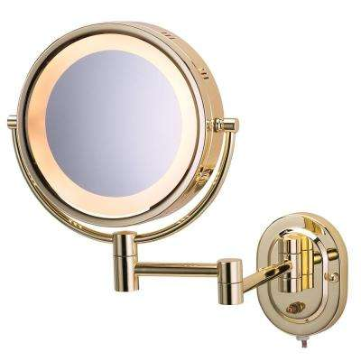 15 in. L x10 in. Lighted Wall Mirror in Bright Brass
