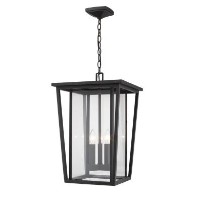 3-Light Oil Rubbed Bronze Outdoor Pendant Light with Clear Glass Shade