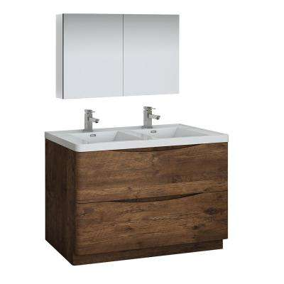 Tuscany 48 in. Modern Double Bathroom Vanity in Rosewood with Vanity Top in White with White Basin and Medicine Cabinet