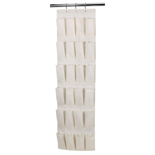 24-Pocket Over the Door Shoe Organizer in Natural Canvas