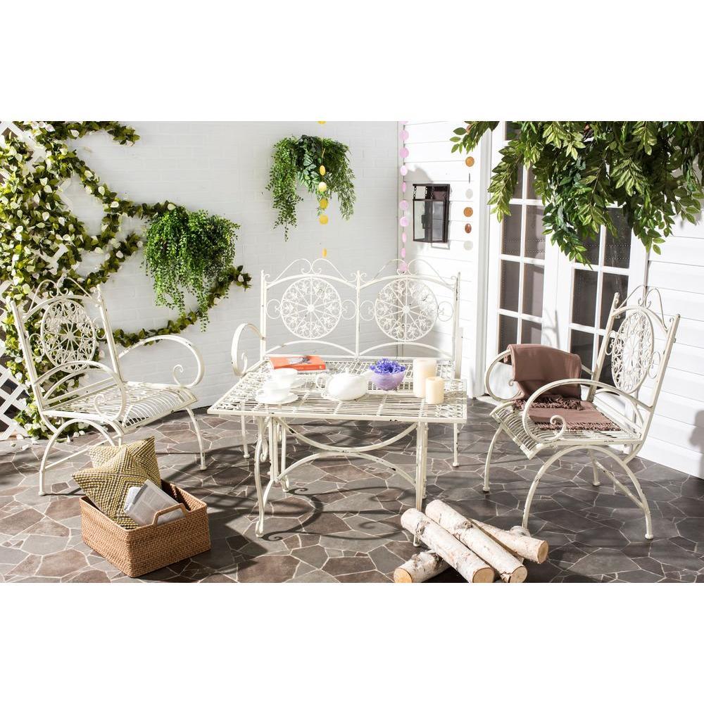 Sophie antique white 4 piece iron patio conversation set