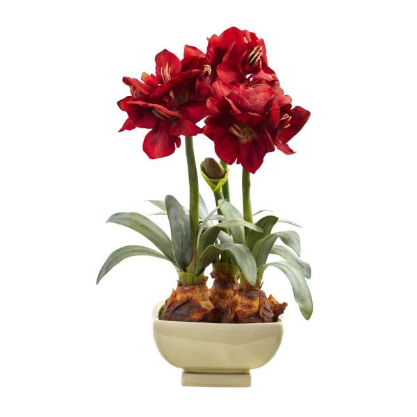 Nearly Natural 26 in. Amaryllis Arrangement with Vase 4536-RD