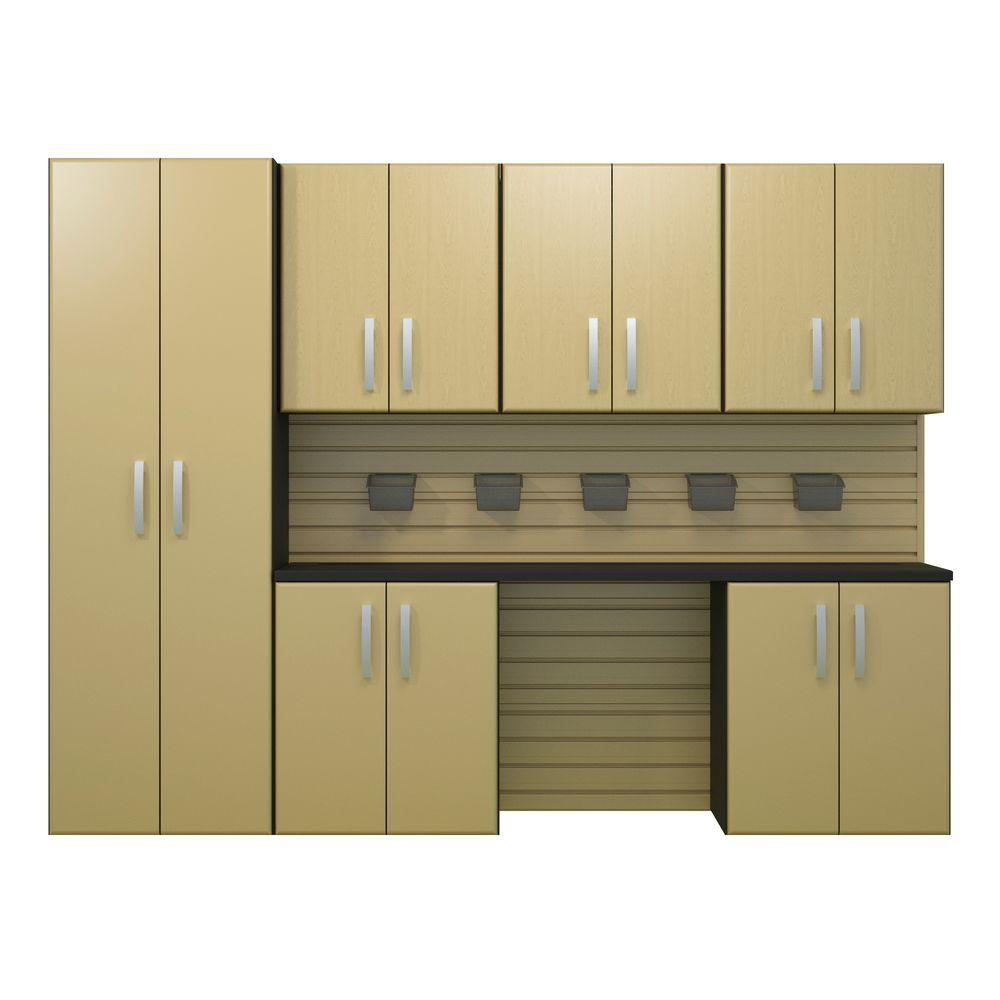 Flow Wall 72 in. H x 96 in. W x 17 in. D Wall Mounted Garage Cabinet Set in Maple (7 Piece)